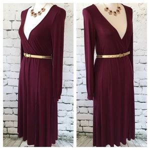 Lulu Low Cut V-Neck Front Slit Midi Dress Size S